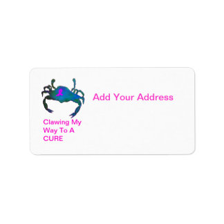 Crab  Pink Ribbon Address Label