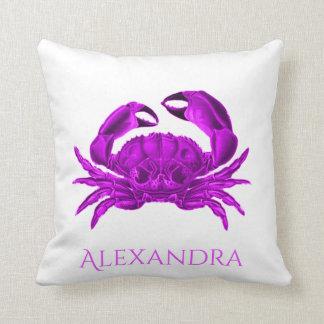 Crab  purple / ultraviolet  Nautical Personalized Cushion