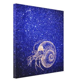 Crab Sea Snail Ocean Rose Gold Cobalt Blue Glitter Canvas Print