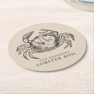 Crab | Seafood Boil / Bake Custom Round Paper Coaster