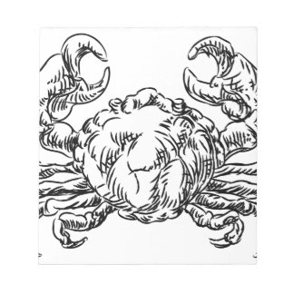 Crab Seafood Food Grunge Style Hand Drawn Icon Notepad