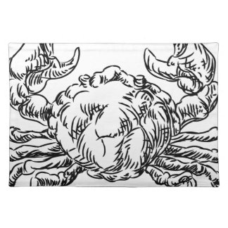 Crab Seafood Food Grunge Style Hand Drawn Icon Placemat