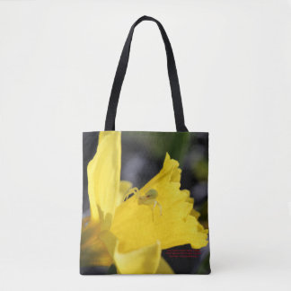 Crab Spider on Early Spring Daffodil Tote Bag
