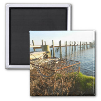 Crab Trap and Dock at Sunset Refrigerator Magnet