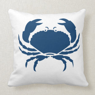 CRAB WHITE on dark  blue pillow
