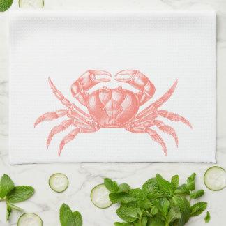 Crab Woodblock Print Artisan Style Coral Tea Towel