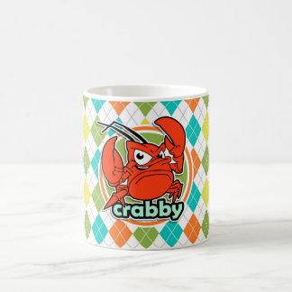 Crabby; Colorful Argyle Pattern Basic White Mug