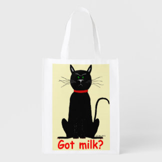 Crabby, grouchy black cat on reusable grocery tote market tote