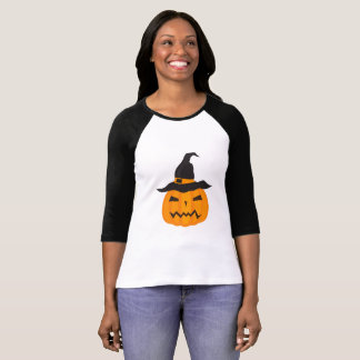 Crabby Looking Halloween Pumpkin With Witch Hat T-Shirt