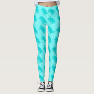 Crabby Pants Aqua Blue Tropical Leggings