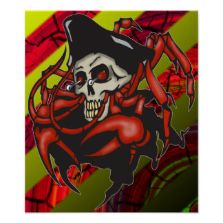 Crabby Pirate Print and Poster