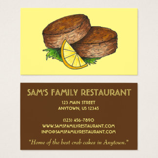 Crabcakes Crab Cakes Seafood Chef Food Restaurant Business Card