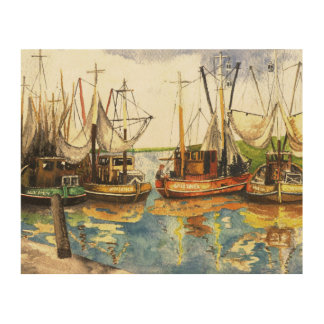 Crabfishing Boats Wood Print