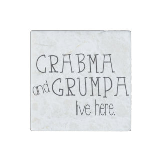 Crabma and Grumpa Live Here Marble Magnet Stone Magnet