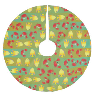 Crabs and fish brushed polyester tree skirt