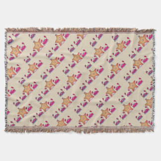 Crabs and Starfish Cartoon Pattern Throw Blanket