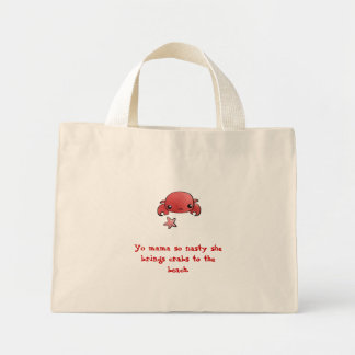 Crabs to the beach mini tote bag