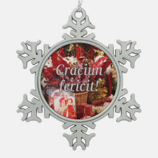 Crăciun fericit! Merry Christmas in Romanian wf Snowflake Pewter Christmas Ornament
