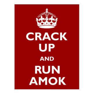 Crack Up and Run Amok Postcard