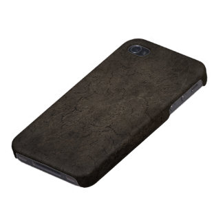 Cracked Aged and Rough Dark Brown Vintage Texture iPhone 4 Case