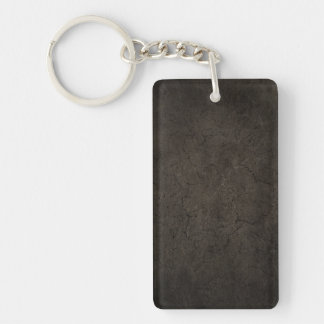 Cracked Aged and Rough Dark Brown Vintage Texture Rectangular Acrylic Keychain