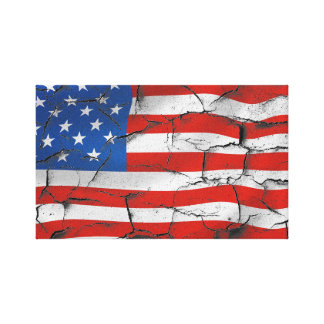 Cracked American flag canvas