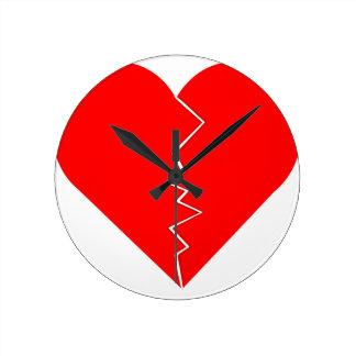 Cracked And Broken Heart Round Clock