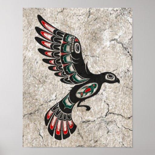 Cracked and Worn Flying Haida Spirit Bird Print