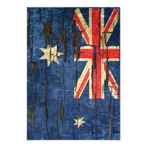 Cracked Australian Flag Peeling Paint Effect Custom Announcements