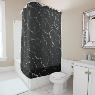 Cracked Blacked Silver Gray Abstract Luxury Shower Curtain