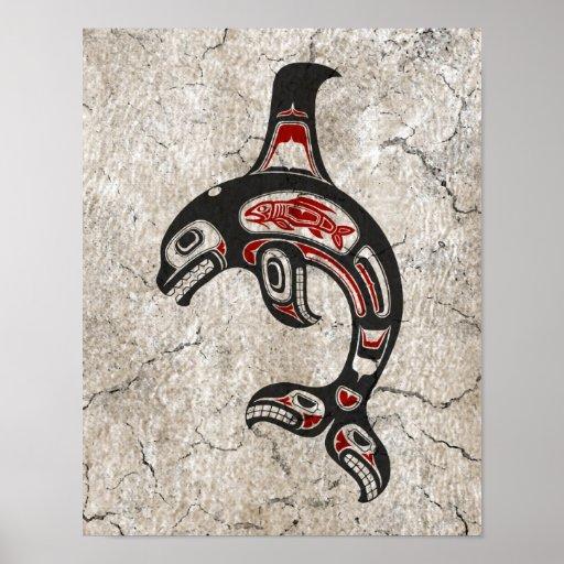 Cracked Blue and Black Haida Spirit Killer Whale Posters