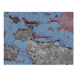 Cracked Blue and Red Paint Postcard