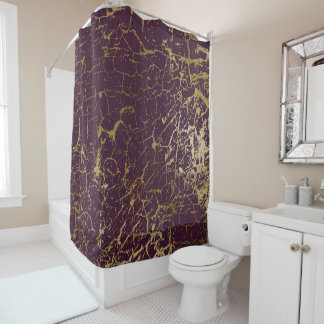 Cracked Burgundy Maroon Bordeaux Gold Luxury Plum Shower Curtain