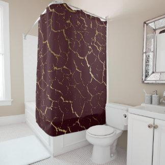 Cracked Burgundy Maroon Bordeaux Gold Luxury Shower Curtain