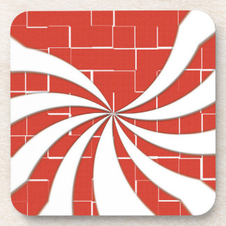 Cracked Candy Cane - Red Drink Coaster