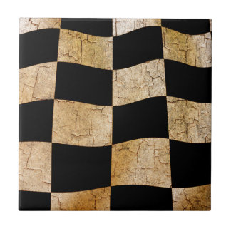 Cracked chequered flag tile