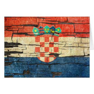 Cracked Croatian Flag Peeling Paint Effect Card