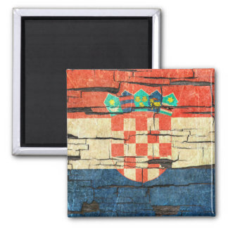 Cracked Croatian Flag Peeling Paint Effect Square Magnet