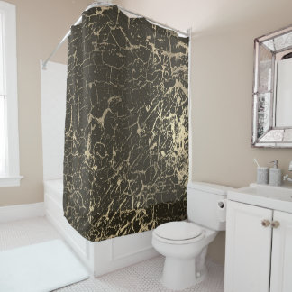 Cracked Faux Black Gray Urban Gold Luxury Grungy Shower Curtain