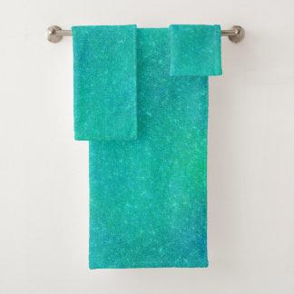 Cracked Glass Teal Bath Towel Set