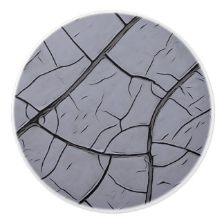 Cracked Gray Paint Ceramic Knob
