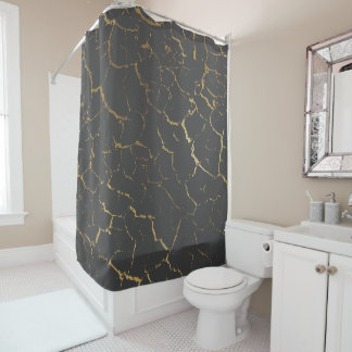 Cracked Gray Silver Urban Gold Luxury Shower Curtain
