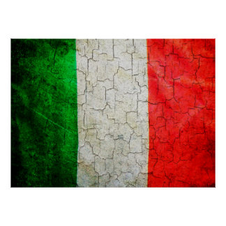 Cracked Italy flag Poster