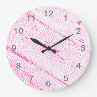 Cracked Paint Pattern Pink And White. Large Clock