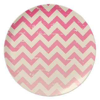 Cracked Pink Ombre Zigzag Melamine Plate
