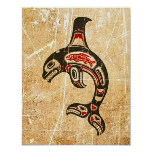 Cracked Red and Black Haida Spirit Killer Whale Print