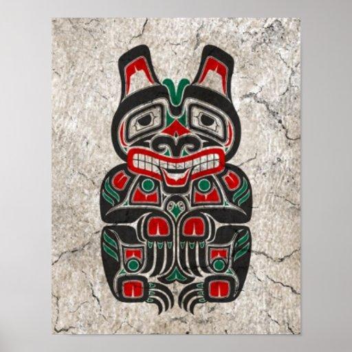 Cracked Red and Green Haida Spirit Bear Poster