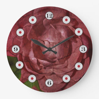 Cracked Red Rose by Shirley Taylor Large Clock