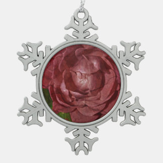 Cracked Red Rose Pewter Snowflake Decoration