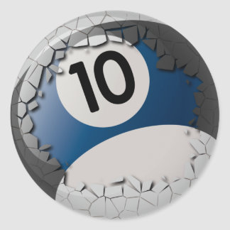 Cracked Shell Break Out Billiards 10 Ball Classic Round Sticker